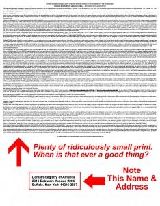 Beware | Domain Registry of America | Page 2 - Small Fine Print