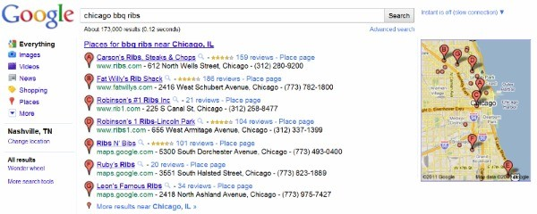 "Google search results for ""Chicago BBQ Ribs"""