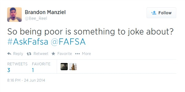 FAFSA Mocks The Poor: A Lesson on Using Social Media the Wrong Way
